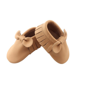 Beige Bow Moccasin Shoes - Happily Ever After Boutique