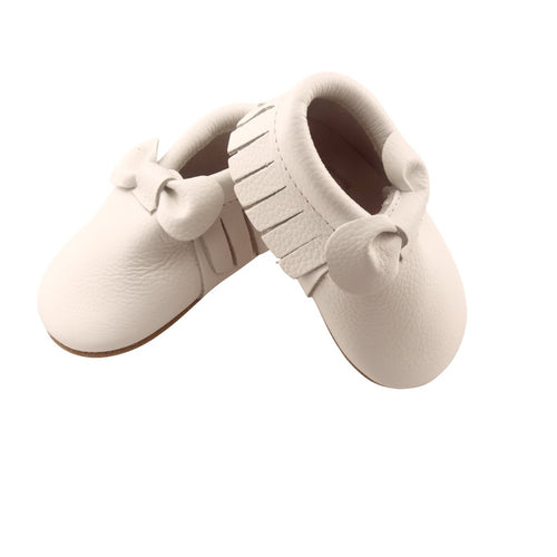 White Bow Moccasins Shoe - Happily Ever After Boutique
