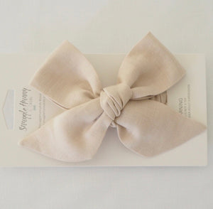 Natural Linen Bow Pre-Tied Headband Wrap - Happily Ever After Boutique