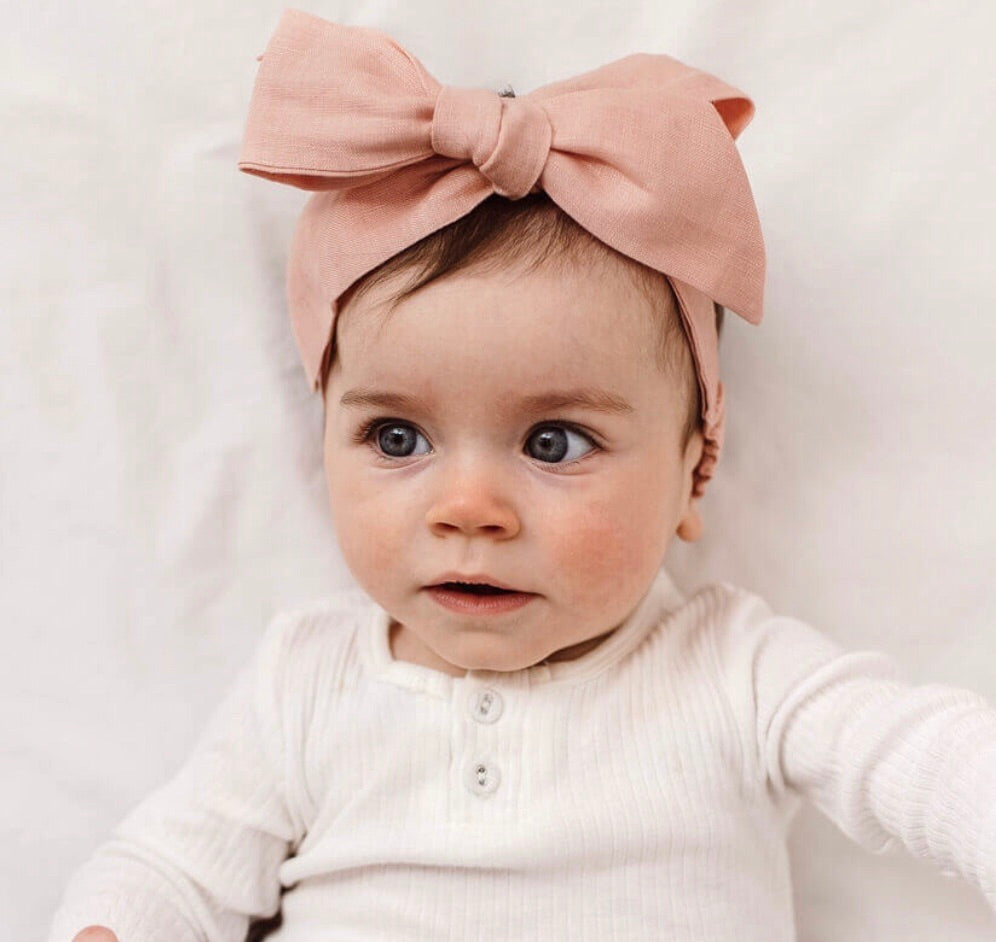 Rust Linen Bow Pre-Tied Headband Wrap - Happily Ever After Boutique