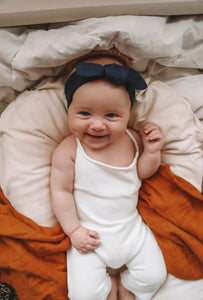Navy Topknot Headband - Happily Ever After Boutique