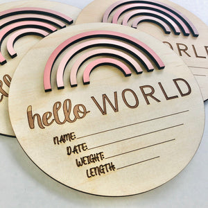 Hello World Birth announcement Pretty Pinks - Happily Ever After Boutique