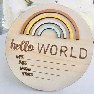 Hello World Birth Announcement Golden Days - Happily Ever After Boutique
