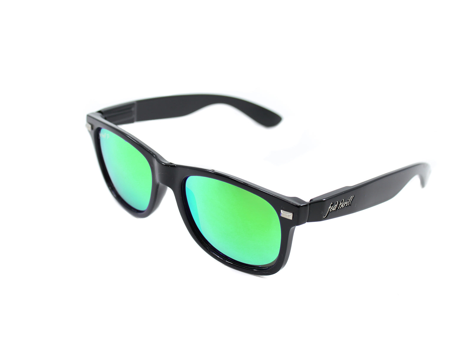 Fultons -  Revolts: Glossy Black / Mirrored Green Polarized