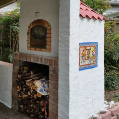 Authentic Pizza Oven Lisboa wood fired pizza oven built into a wall