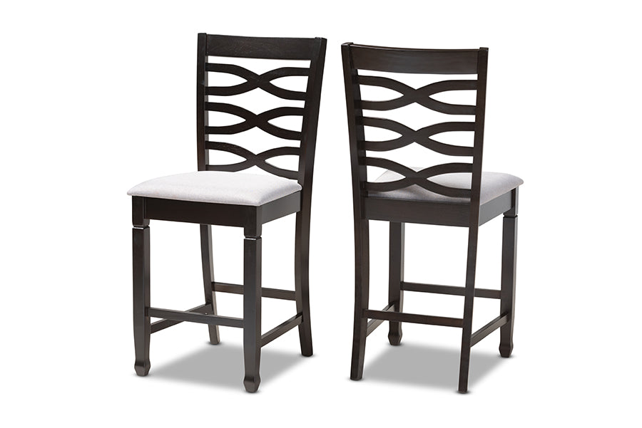 Tremendous Baxton Studio Lanier Modern And Contemporary Gray Fabric Upholstered Espresso Brown Finished Wood Counter Height Pub Chair Inzonedesignstudio Interior Chair Design Inzonedesignstudiocom
