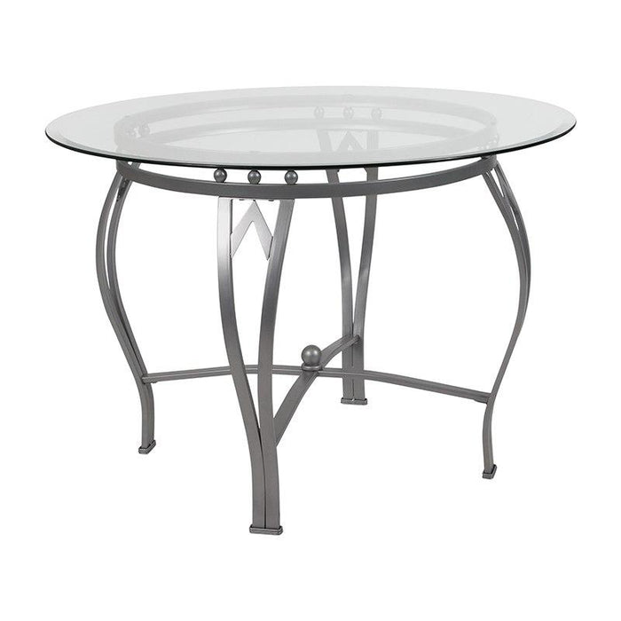 Flash Furniture XU TBG 24 GG Syracuse 42 Round Glass Dining Table With Silver Metal Frame