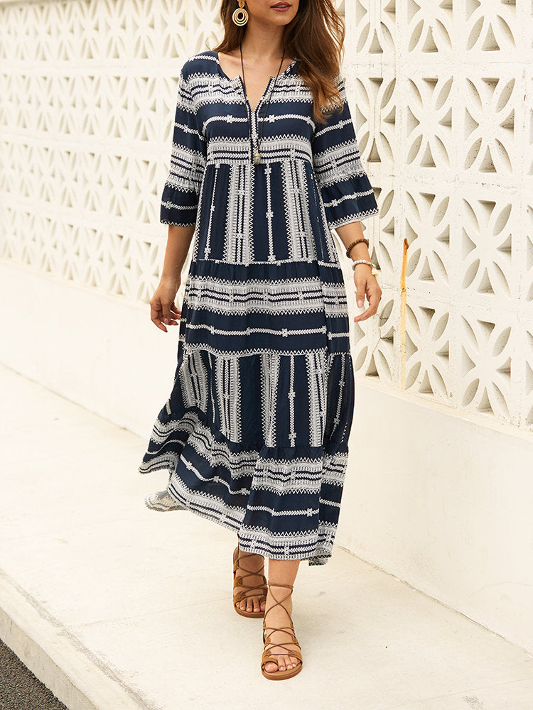 Casual Print V-neck Half Sleeve Summer Maxi Dress