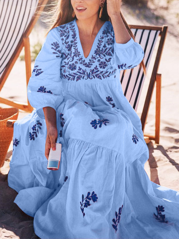 Plus Size Long Sleeve V-neck Floral  Elegant Casual  Midi  Dress
