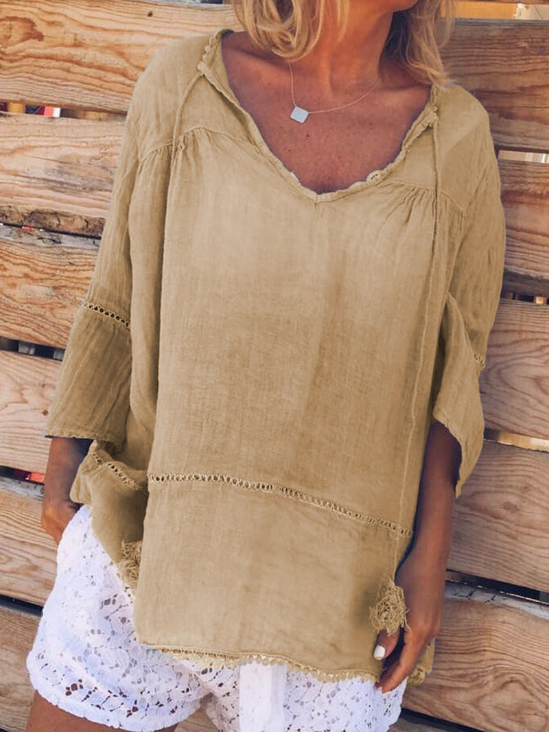 Sweet Linen Half Sleeve Solid Shirts & Tops