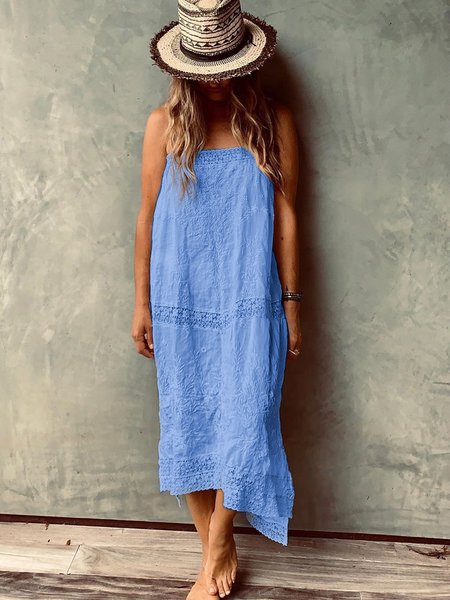 Solid Cotton Sleeveless Dresses
