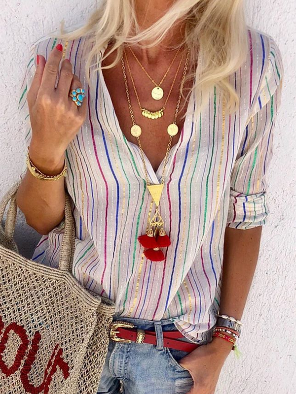 Multicolor Striped Boho Shirts & Tops