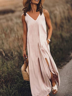 Sleeveless V Neck Plain Dresses