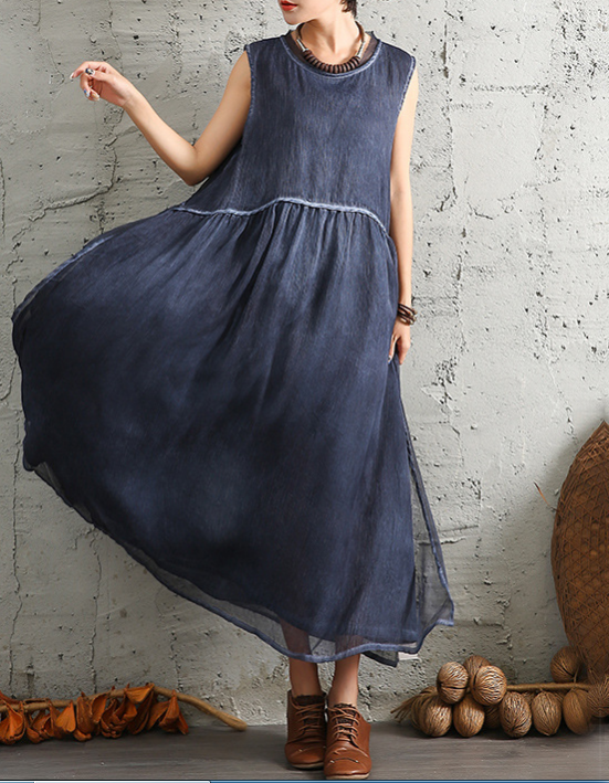 Round Neck Sleeveless Boho Dresses
