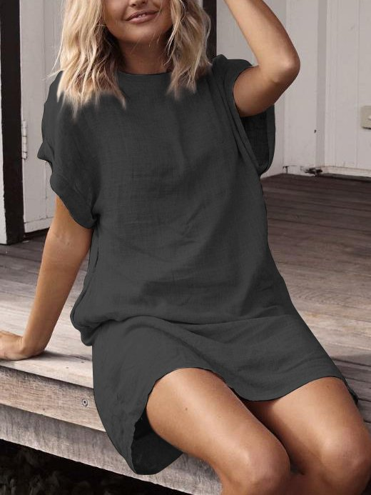 Plus Size Casual Solid Casual Short Sleeve Dresses