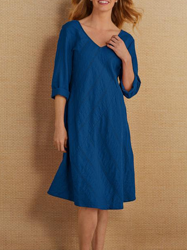 Half Sleeve Cotton-Blend A-Line Casual Dresses