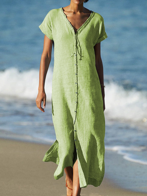 V Neck Women Dresses Beach Linen Paneled Dresses
