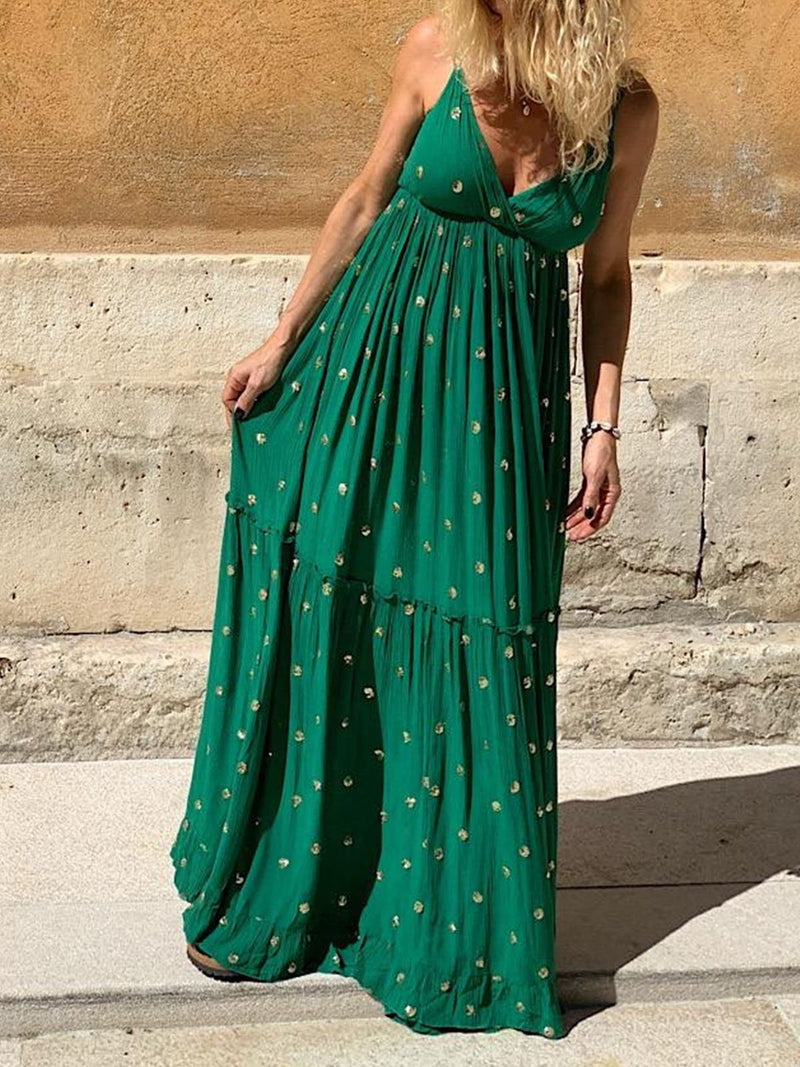 Green Sleeveless Floral V Neck Dresses