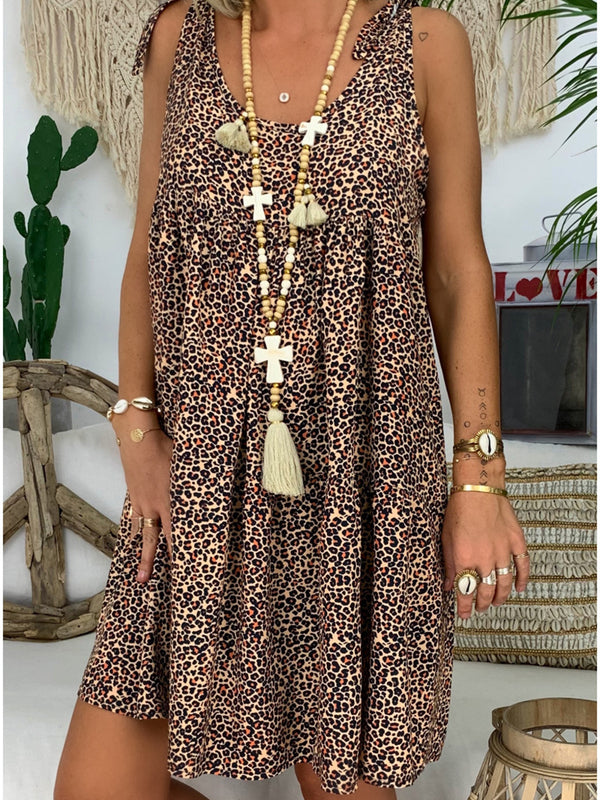 Cotton-Blend Casual Leopard-Print V Neck Dresses