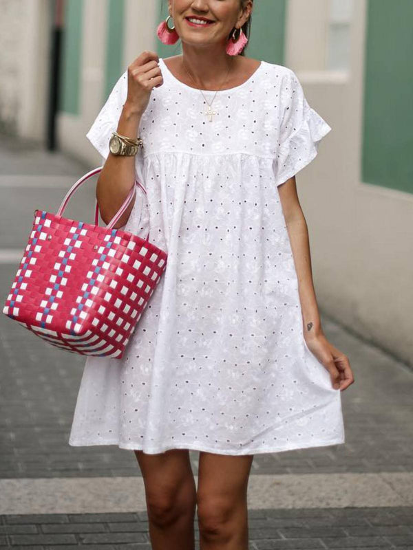 Short Sleeve Cotton-Blend Round Neck Casual Dresses