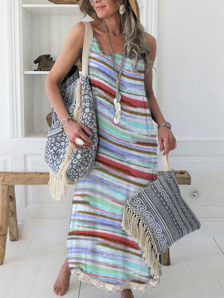 Stripes-Printed Maxi Holiday Dress