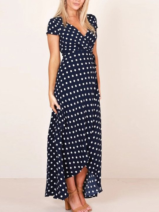 Blue Short Sleeve Polka Dots Cotton Dresses