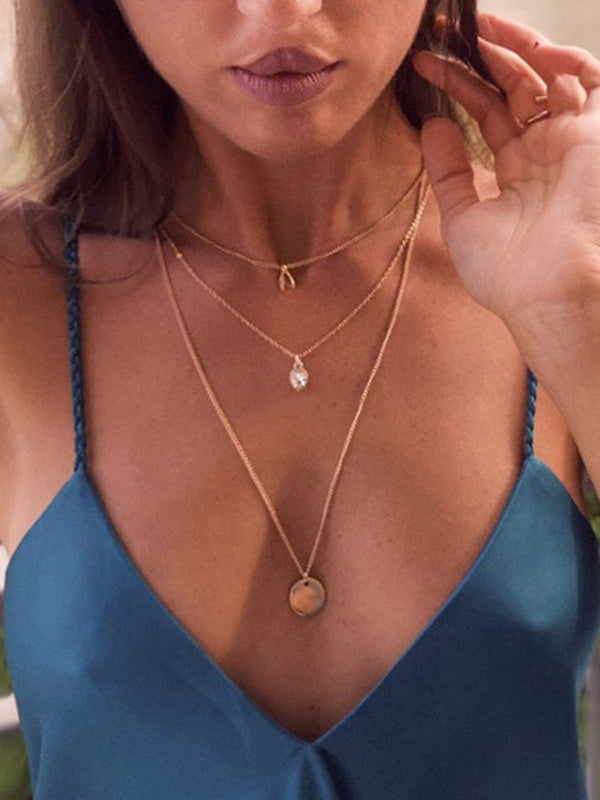 Women Double Layer Golden Necklaces