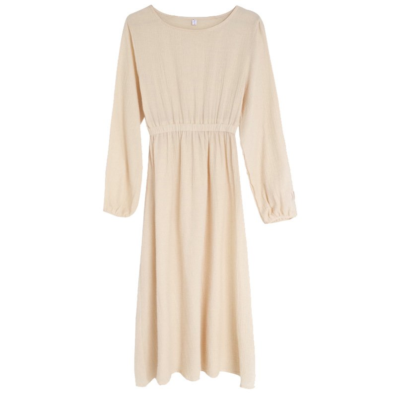 Linen Solid Round Neck Long Sleeve Dresses