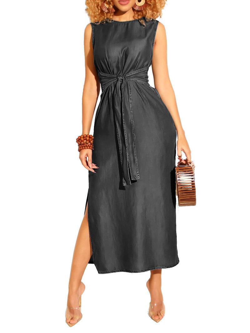 Solid Casual Sleeveless Dresses