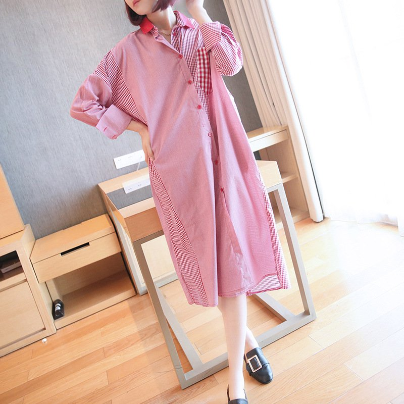 Cotton-Blend Long Sleeve Plaid Dresses