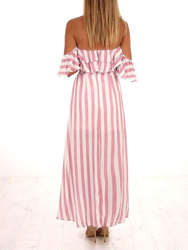 Pink Stripes Cold Shoulder Dresses