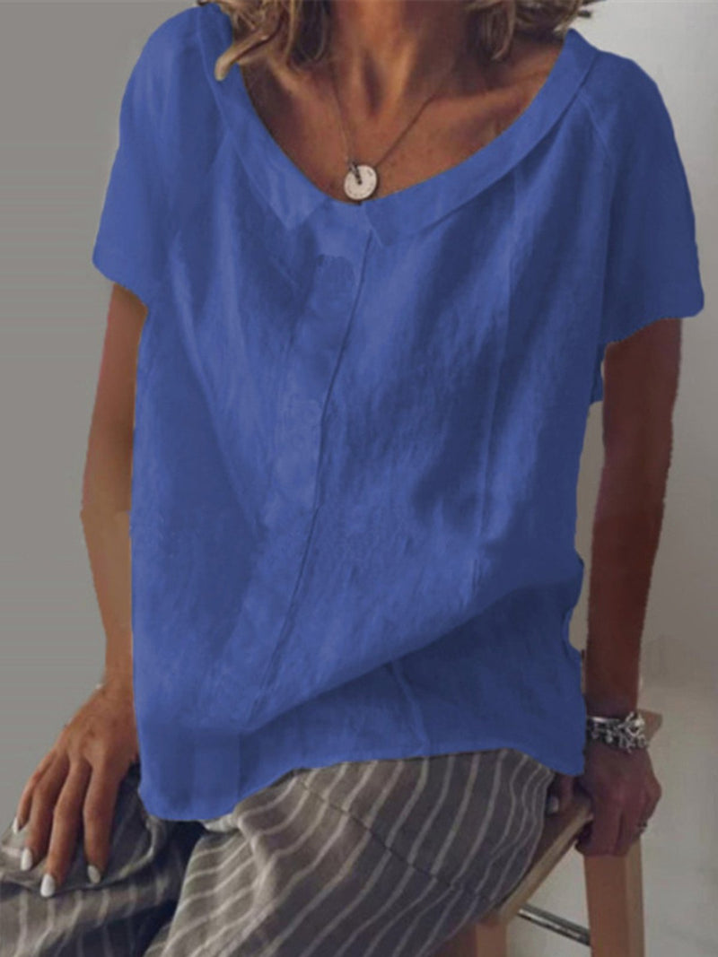 Cotton Solid Casual Short Sleeve Shirts & Tops