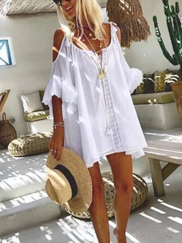 White A-Line Cold Shoulder Cotton-Blend Off Shoulder Dresses