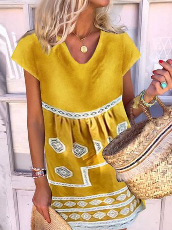Yellow Round Neck Short Sleeve Dresses