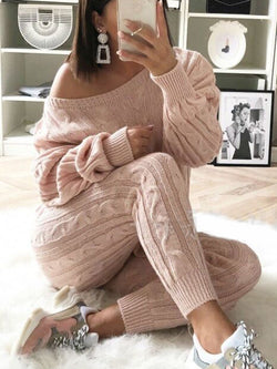 2018 Women's Stylish Round Neck Two Piece Casual Warm Knit Wear Suit Sets