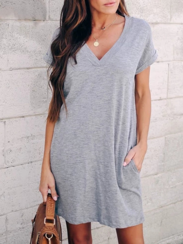 Grey Casual Solid V Neck Cotton Dresses