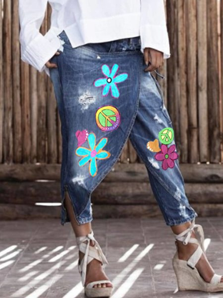 Casual Printed Denim Pants