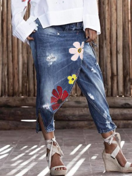 Blue Denim Floral Casual Pants