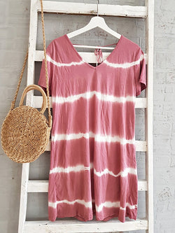 Tie Dye Printed V-neck Tunic Shirts