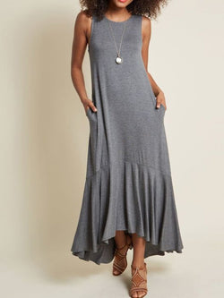 Sleeveless Solid Casual Dresses