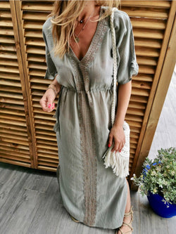 V Neck Casual Cotton-Blend Dresses