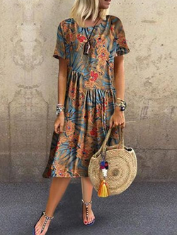 Casual Crew Neck Printed Dresses