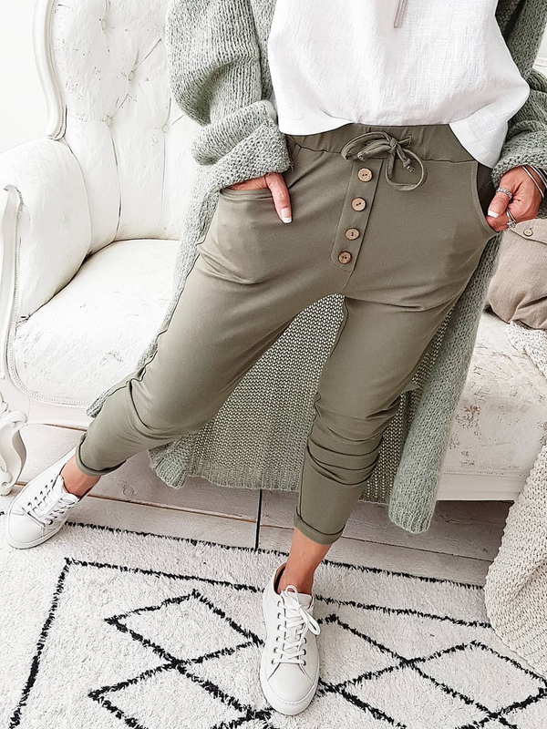 Casual Buttoned Solid Pants