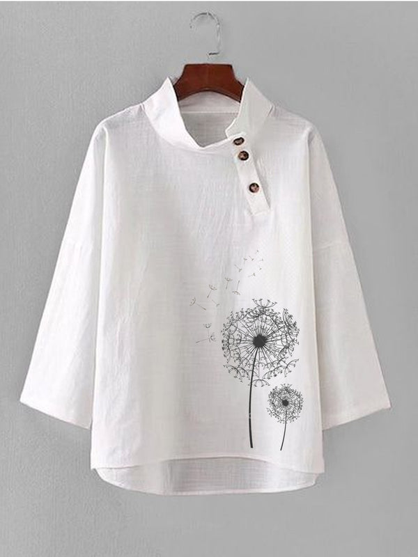 Long Sleeve Plant Cotton Casual Shirts & Tops