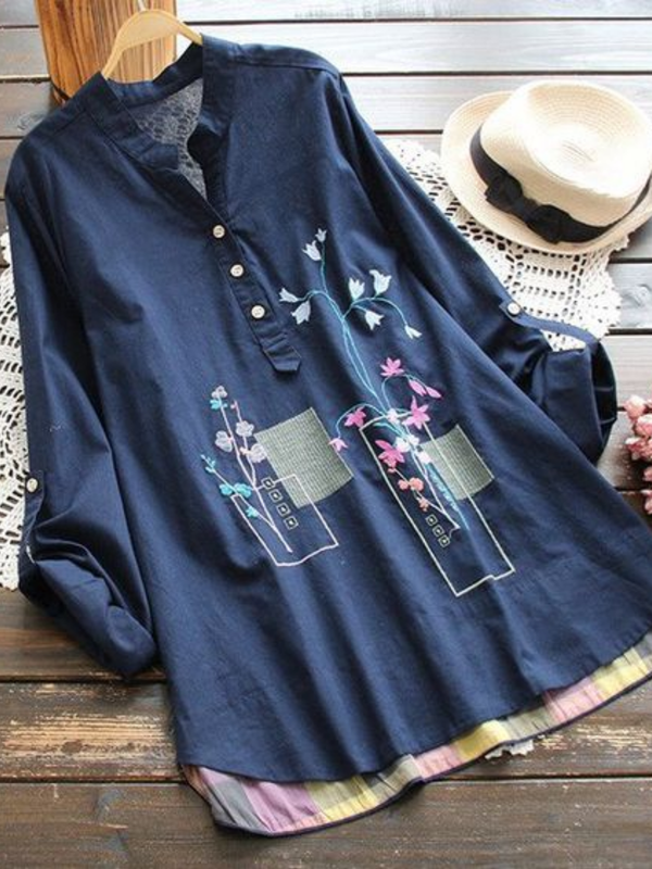 Long Sleeve Buttoned Cotton-Blend Floral Shirts & Tops