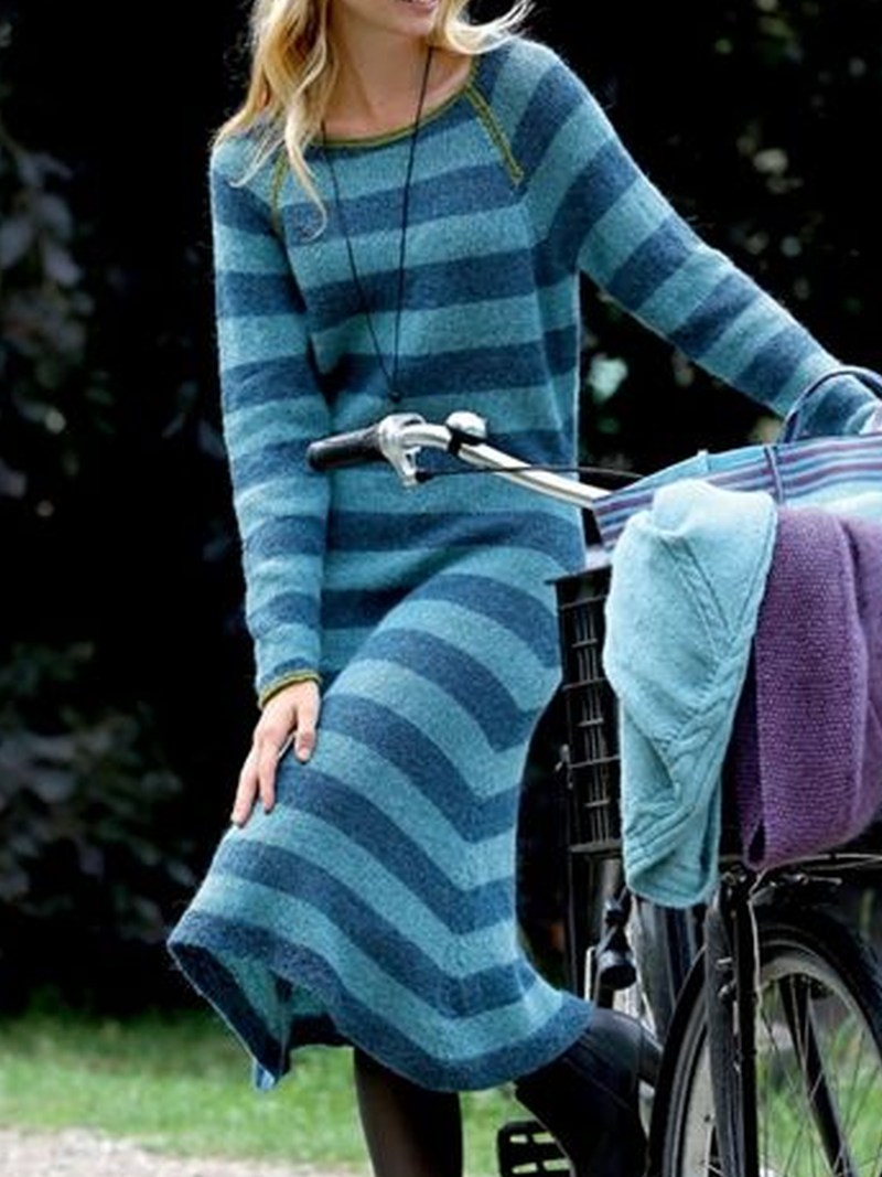 Striped Casual Crew Neck Dresses
