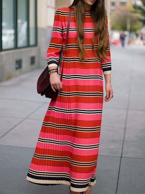 Long Sleeve Striped Cotton-Blend Shift Dresses