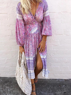 Long Sleeve Floral Boho Dresses