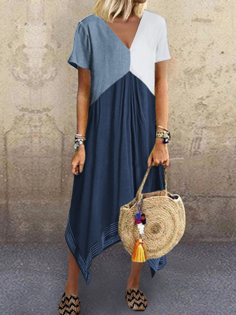 Asymmetric A-Line Cotton-Blend Short Sleeve Dresses