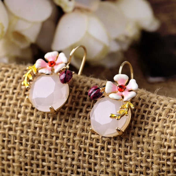 Lovely flower ladybug ladies earrings